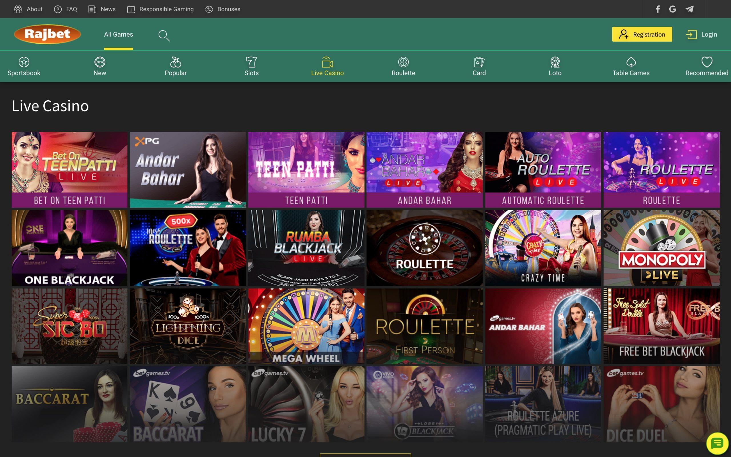 Rajbet live casino